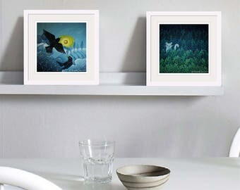 Two Blackbirds; Fine Art Print