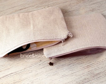 Jute Fabric zip clutch-coin purse hinge-cosmetic case-jute fabric pochette-pocket bag for tricks