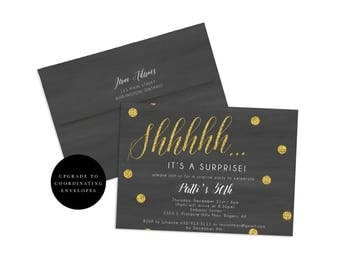 Surprise Party Invitation, Birthday Surprise Party Invite, Shhh It's a Surprise, Glitter Birthday Invite