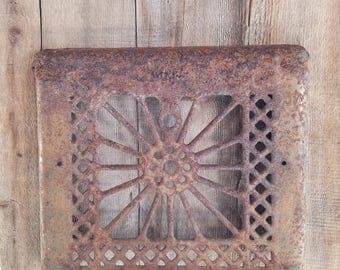 Antique Salvaged Wall Grate, rustic decor, rusty grate, architectural salvage, metal grate, ornate grate, salvaged wall grate