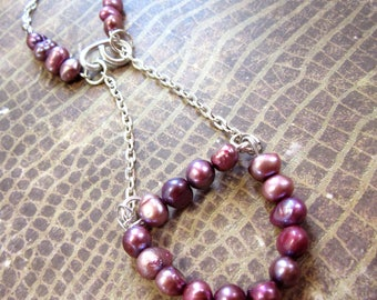 Pink Pearl Necklace, Pink Beaded Necklace, Freshwater Pearl Necklace, Pink a&  Silver Necklace, Bar Necklace,  Handmade Necklace with Pearls