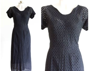 1950s black eyelet sheath dress