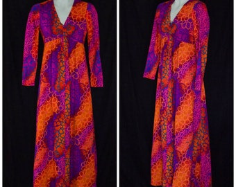 1960s long sleeve empire waist maxi dress in orange, pink, and purple