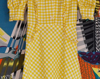 DRESS - Apron vintage print gingham country 50 years
