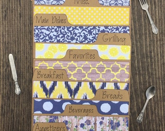 Recipe Dividers 3x5, 4x6, Navy & Yellow, Lemons, Floral