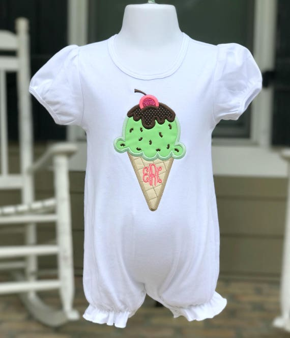 Ice Cream Monogrammed Ruffle Romper