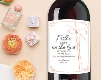 TIE THE KNOT Bridesmaid Wine Label, Bridesmaid Proposal Gift, Bridesmaid Wine Label, Will You be my Bridesmaid champagne, Ask Maid of Honor