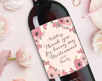 Thank You for Being My Bridesmaid Wine Label, Maid of Honor Thank You Gift, Bridal Shower Hostess Gift, Bridesmaid Gift, Wedding Wine Label