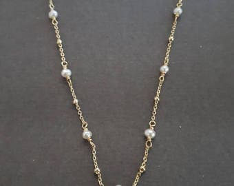 white pearl necklace, satellite chain, gold vermeil, 925 sterling silver