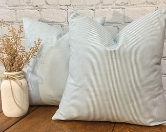 Blue Ticking Stripe Pillow Cover, Blue and White Stripe, Cotton Pillow Cover, Striped Pillow, 17x17