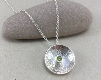 Hammered Silver and Peridot Necklace Silver Circle Peridot Necklace Silver Dome Pendant Hammered Silver Necklace August Birthstone