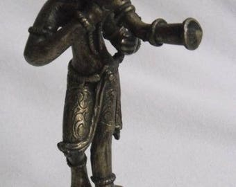 Vintage Temple Dancer-musician with horn-Buddha figurine-brass-brass-Temple dancers