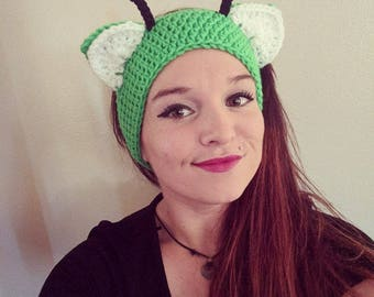 Crochet Alien Kitty Ear Warmers