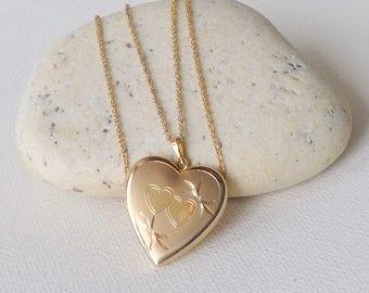 Gold Filled Heart Locket Necklace Vintage 14k Gold Fill Heart Locket, Brushed Gold Heart Jewelry, Retro Heart Necklace Vintage  Gold Locket