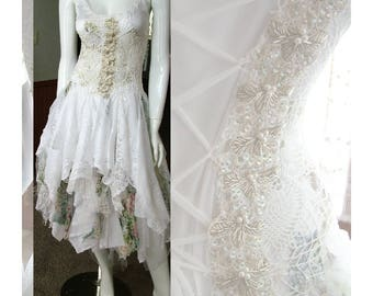 Vintage inspired wedding dress white and green ice princess fairy dress, forest cottage chic tattered one of a kind dress Size 4 - 7.