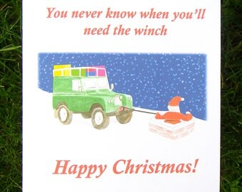 Land Rover Defender Christmas card, Christmas card for men