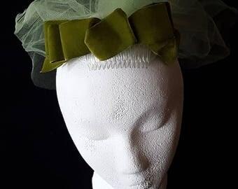 Vintage Bridesmaids's Bow and Veil Headpiece