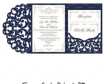 Set of Tri Fold pocket envelope 5x7 Wedding Invitation SVG DXF Template casamento boda Quinceanera laser cut file Silhouette Cameo Cricut