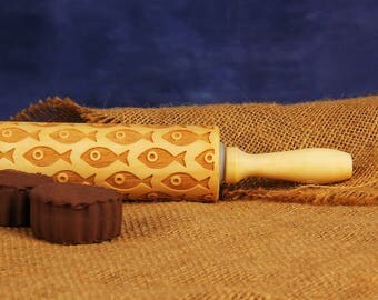 Fish Embossing Rolling Pin, Wooden Embossed Rolling Pin, Cookie Embosser, Clay Stamp, Patterned Biscuit, Pie - EWRP359