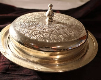 Moroccan Alpaca Silver Nibbles/Cookies/Sweets Covered Bowl/Made in Fez Morocco