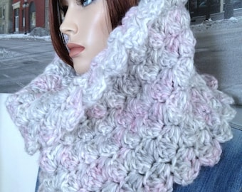 Handmade Mohair Cowl Scarf, Thick Winter Cowl Super Soft Pink & Gray Mohair Yarn Blend Gift for Her No Waiting, Ready to Ship Now