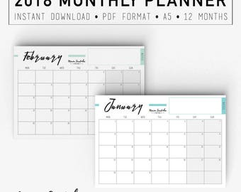 Printable Monthly Planner 2018, Printable A5 Planner, 2018 Agenda, PDF Instant download