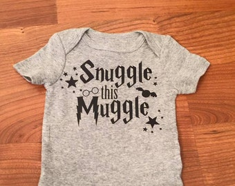 Snuggle this muggle bodysuit, harry potter, baby wizard, harry potter baby, solemnly swear, iron on, mischief managed, DIY iron on