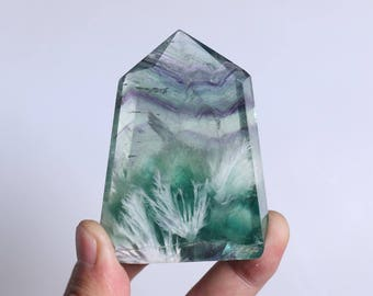 Rare Fluorite Flowers ,Fluorite Flowers Point,Fluorite Flowers Growth Within The White Fluorite,Fluorite Wand Point Healing J936