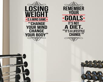 Two Vintage Weight Loss Inspiring Motivational Wall Art Decals. Perfect for Gyms, Homes and Health & Fitness Centres.