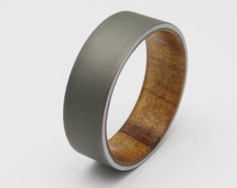 Maple Wood ring with sandblasted Titanium  Ambrosia Maple Wood wedding band