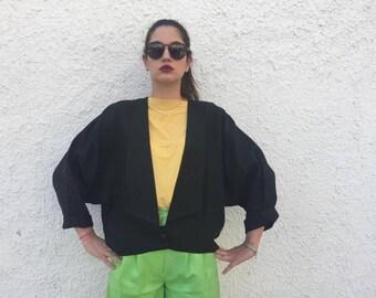 Giacca lino collo alla coreana / Giacca corta a pipistrello / Giacca lino taglio vestaglia / Kimono corto lino / Giacca vestaglia