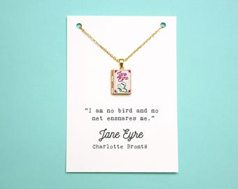 Jane Eyre Book Quote and Locket Charm. Charlotte Bronte Quote Card. I Am No Bird Bronte Sisters Book Necklace. Book Jewellery. Literary Gift