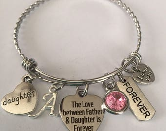 Father daughter bracelet-personalized-father daughter stainless steel charm bangle