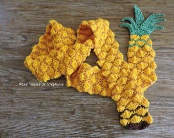 Crocheted pineapple scarf CUSTOM, Scarf fruit for a summer taste