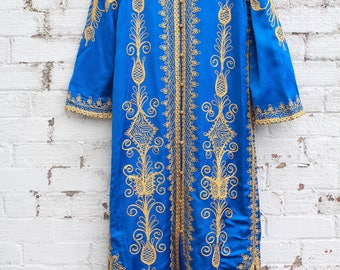 Vintage blue gold embroidered floral indian 70s smock gypsy maxi dress jacket S M