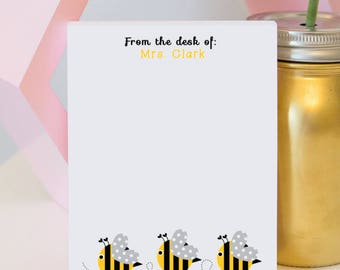 Personalized Teacher Notepad - Bee Notepad - teacher notepad - teacher gift - bee notepad - personalized notepad - custom stationery