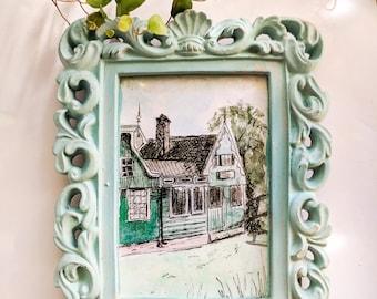 Zaandam Netherlands Watercolor Painting, Original Art, Original Artwork, Small Painting, Mini Painting, Pastel, Mint Green, Small Gifts