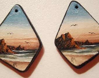 Stud earrings. original miniature painting.