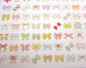 Two sheets Korean bow stickers, cute planner stickers, kawaii stickers tiny stickers hair accesory stickers beauty stickers fashion stickers