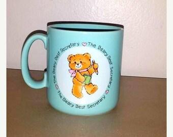 Vintage Best Secretary Mug, Beary Best Secretary,Secretary  Mug,Applause Mug, Gift for Secretary,Receptionist,The Beary Bear,1980s