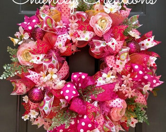 Summer Wreath, Front Door Wreath, Flower Wreath, Deco Mesh Wreath, Floral Wreath, Pink Wreath, Summer Decor, Spring Decor