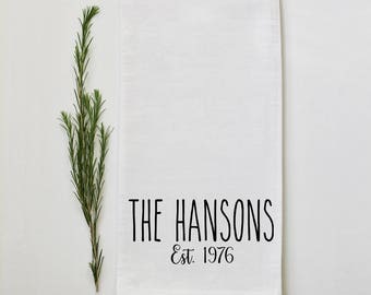 Personalized Rae Dunn Style, Tea Towel, Custom Wedding Gift, Housewarming Gift, Flour Sack, Bridal Shower Gift, Kitchen, Home Decor,