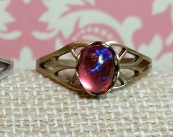 Antique Style Ring, Red Dragons Breath Ring, Mexican Fire Opal, Filigree, Victorian, Vintage Style, Red Glass Stone Ring, Brass, Adjustable