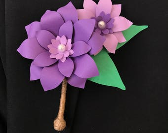 Paper Flower Boutonniere, Cheap Wedding Boutineers, Groom Accessories, Men Suit Flower Pins, Bridal Boutonnieres, Purple Flower Lapel Pins