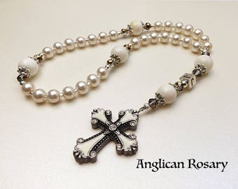 Personalized Anglican Rosary. Christian Rosary. White Pearls Rosary. Rosary Gift. Protestant Prayer Beads. Episcopal Rosary. #AR25