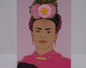 Frida Kahlo Greetings card pink flower brooch
