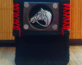 Cigarette case, horse, leather, wallet, lighter at the back, sewn entirely by hand
