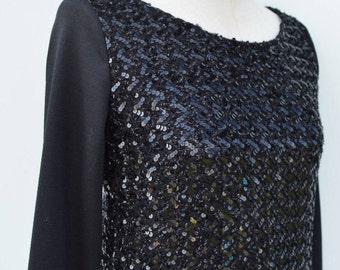 Top black glitter, top handle long black sequins, glitter black, embroidered, long sleeve top black top hot rebrod