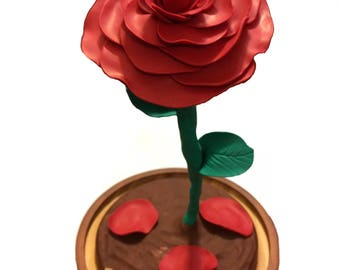Beauty and the Beast Red Rose Dome, extra large, Enchanted Rose, Red Enchanted rose, Fallen petals, Beauty and the beast wedding, Red Rose