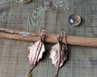 Electroformed earrings, electroplated leaf, real leaf jewelry, leaf earrings, electroformed jewelry, electroplated, poplar leaf, botanical